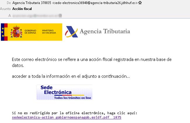 Correo que suplanta a la Agencia Tributaria y que puede provocar la descarga de malware en tu equipo